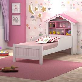 Cama Quarto Solteiro Casa Princesa c/ Estante