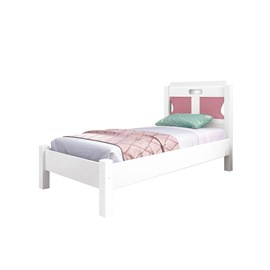 Cama Solteiro Quarto Madri Estrado Reforçado Branco/Rosa