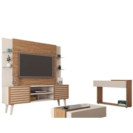Conj Home Stilo Aparador e Mesa de Centro Off White/Amêndoa