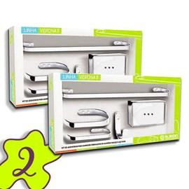 Conjunto 2 Kits Acessorio Banheiro 5 Peças Metal Cromado