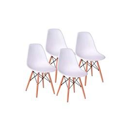 Conjunto 4 Cadeiras Eames Eiffel Pés Madeira