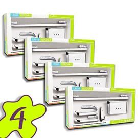 Conjunto 4 Kits Acessorio Banheiro 5 Peças Metal Cromado