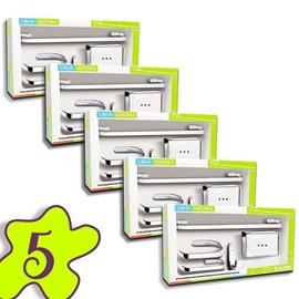 Conjunto 5 Kits Acessorio Banheiro 5 Peças Metal Cromado