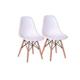 Conjunto Com 2 Cadeiras Eames Eiffel Pés Madeira