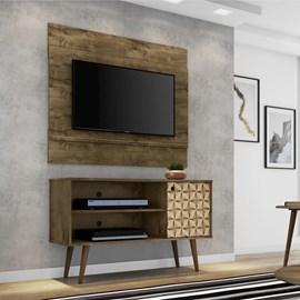 Conjunto Painel Tv Bali Com Rack Jade Cor Madeira Rustica 3D