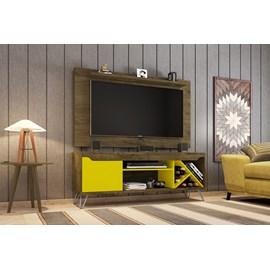 Conjunto Rack Com Painel Para TV Sala Com Pes de Aço Kenzo
