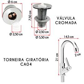 Cuba Inspira Branca Com Torneira CA04 e Valvula Cromada