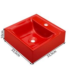 Cuba Pia para Banheiro Quadrada Vermelha
