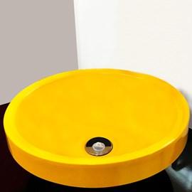 Cuba Pia para Banheiro Redonda Amarela