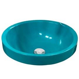 Cuba Pia para Banheiro Redonda Azul