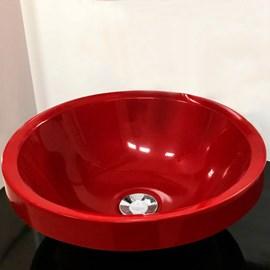 Cuba Pia para Banheiro Redonda Vermelha