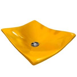 Cuba Pia para Banheiro Retangular Côncava Amarela