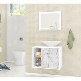 Gabinete Armario Banheiro Baden Bco Carrara Efeito Mármore