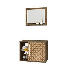 Gabinete Armario Banheiro c/ Espelho Sem Cuba Cor Madeira/3D