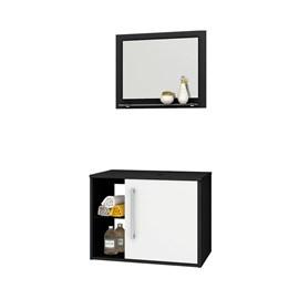 Gabinete Armario Banheiro c/ Espelho Sem Cuba Cor Preto/Bco