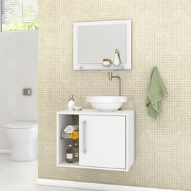 Gabinete Armario Banheiro Com Espelho Lua Cor Branco