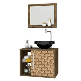 Gabinete Armario Banheiro Jupiter Cor Madeira Rustica 3D