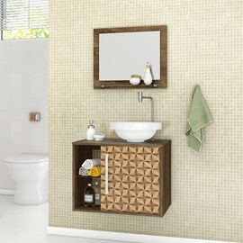 Gabinete Armario Banheiro Lua Cor Madeira Rustica 3D