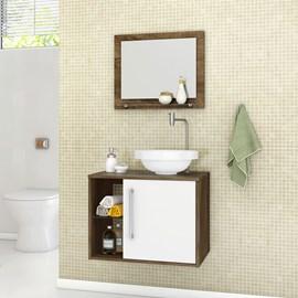 Gabinete Armario Banheiro Lua Cor Madeira Rustica e Branco
