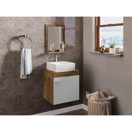 Gabinete Armário Banheiro Nero Pia Quadrada Branco