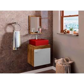 Gabinete Armário Banheiro Nero Pia Quadrada Vermelha