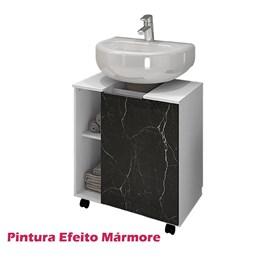 Gabinete Armário Banheiro Pia de Coluna Pequin Branco/Nero