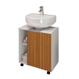 Gabinete Armário Banheiro Pia de Coluna Pequin Branco Ripa
