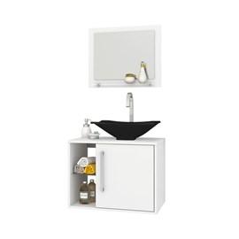 Gabinete Armario Banheiro Sena Cor Branco Com Pia Preta