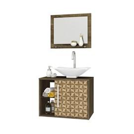 Gabinete Armario p/ Banheiro c/ Pia Baden Madeira/Madeira 3D
