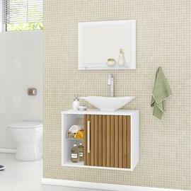 Gabinete Armário para Banheiro Pia Baden Branco Efeito Ripa