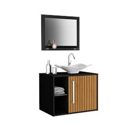 Gabinete Armário para Banheiro Pia Baden Preto Efeito Ripa