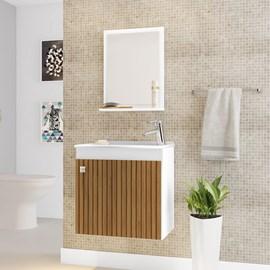 Gabinete Armário para Banheiro Pia Siena Branco Efeito Ripa