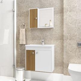Gabinete Banheiro com Pia Munique Branco Efeito Ripa