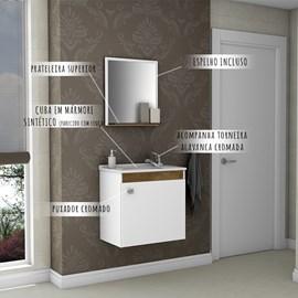 Gabinete de Banheiro Completo c/ Torneira Cor Branco Madeira