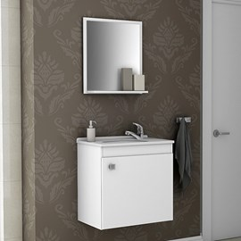 Gabinete de Banheiro Completo com Torneira Cor Branco