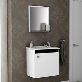Gabinete de Banheiro Completo com Torneira Cor Branco Preto