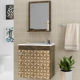 Gabinete de Banheiro Completo com Torneira Cor Madeira 3D