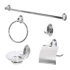 Kit Acessorios Banheiro 5 Peças Metal Cromado 60cm com vidro