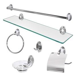Kit Acessorios Banheiro 6 Peças Metal Cromado com vidro