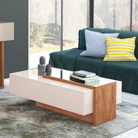 Mesa de Centro Milao Design Moderno Cor Off White/Amendoa
