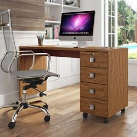 Mesa Escrivaninha Computador Dubai 4 Gavetas Amêndoa