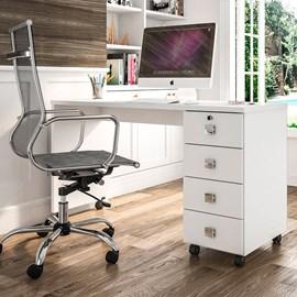 Mesa Escrivaninha Computador Dubai 4 Gavetas Branco