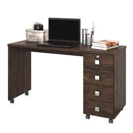 Mesa Escrivaninha Computador Dubai 4 Gavetas Noce