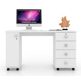 Mesa Escrivaninha Computador Smart Com 4 Gavetas Cor Branco