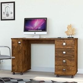 Mesa Escrivaninha Computador Smart Com 4 Gavetas Cor Canela