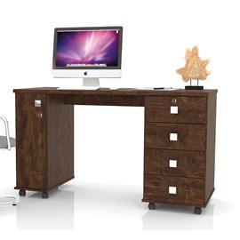 Mesa Escrivaninha Computador Smart Com 4 Gavetas Cor Noce
