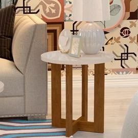Mesa Lateral Luxo Redonda 8002 Cor Caramelo/Perola