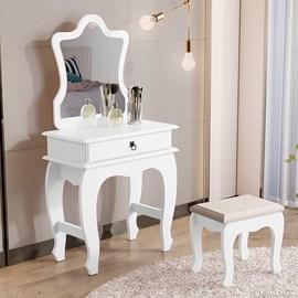 Penteadeira Com Banqueta Gaveta e Espelho 7200 Cor Branca