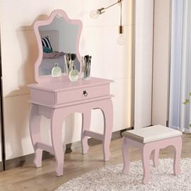 Penteadeira Com Banqueta Gaveta e Espelho 7200 Cor Rosa