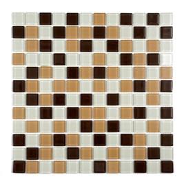 Placa Pastilha Vidro Parede 30cm X 30cm Branco/Bege/Marrom